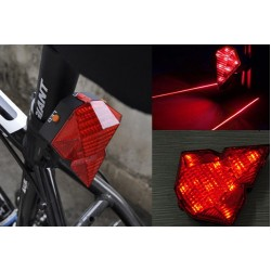 Φανάρι ποδηλάτου Οπίσθιο HJ-022 Diamond Shape Rear Safety 8 LED + 2 laser USB Tail Bike Light Lamp A
