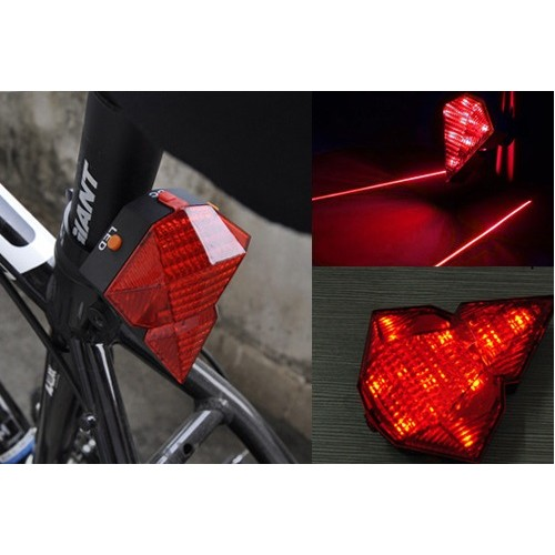 Φανάρι ποδηλάτου Οπίσθιο HJ-022 Diamond Shape Rear Safety 8 LED + 2 laser USB Tail Bike Light Lamp A