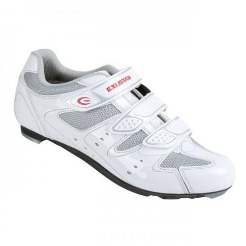 Παπούτσια ποδηλάτου Κούρσας EXUSTAR Λευκό-Ασημί